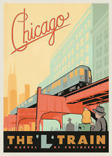 L train Chicago Vintage Illustrated Travel Poster Print on canvas