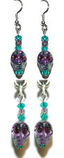 GREEN & PURPLE STONE SKULL HALLOWEEN PIERCED or CLIP ON DANGLE EARRINGS (H076)