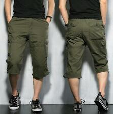 Mens Casual Shorts Army Combat Cargo Work Shorts Knee Length Pants Trousers Size