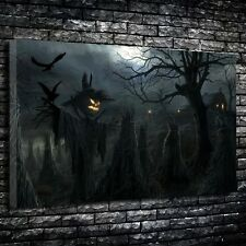 """Spooky scarecrow Printed Canvas A1.30""""x20""""- Deep 30mm Frame. Horror. Gothic Art."""