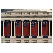 Poster Print Wall Art entitled US Capitol Building with American flags draped