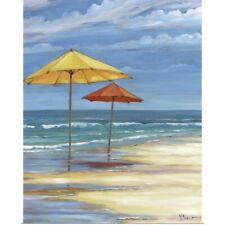 Poster Print Wall Art entitled Seascape with Umbrellas - Yellow and Orange