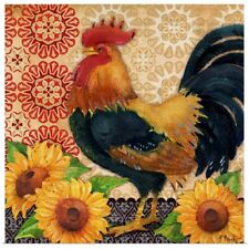 Poster Print Wall Art entitled Roosters and Sunflowers II