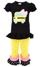Unique Baby Girls Back to School Bus Shirt Boutique Outfit Outfit