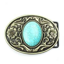 Vintage Indian Bohemia Belt Buckle Pattern Arabesque Turquoise Western Cowboy