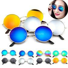 Mirror Round Frame Sunglasses Color Film Metal Reflective Women Men Sun Glasses