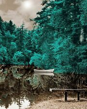 Lake of Trees - Teal Brown/Gray Falls Home Decor Picture Teal Wall Art