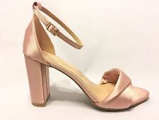 Block Chunky Wrapped High Heel Single Ankle Strap Open Toe Blush Satin Sandals