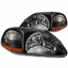 Anzo USA Crystal Headlights Black for Honda Civic 1996-1998