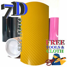 New 6D Yellow Shinny GLOSSY Carbon Fiber Vinyl Wrap Sheet With Air Release