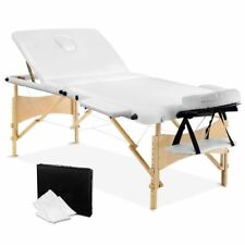 Portable Wooden 3 Fold Massage Table Chair Bed White 70 cm