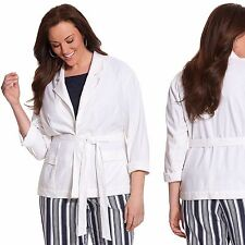 ~Free Shipping~ New $80 Lane Bryant Stretch Linen Belted Jacket Plus Size 16 18
