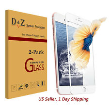 """2Pcs For iPhone 7 Plus 5.5"""" Full Coverage Tempered Glass Screen Protector Film"""