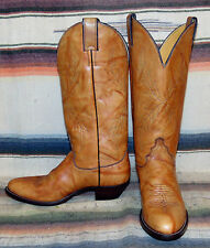 Womens Vintage Justin Brown Leather Tulip Cowboy Boots 7.5 B Excellent Used Cond