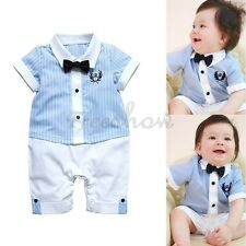 Blue Stripe Gentleman Baby Boy Short Sleeved Bodysuit Jumpsuit Romper SZ 0-18M