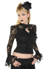 Banned Rose Lace Corset Steampunk Victorian Gothic Punk Shirt Blouse Top Black