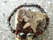 Men's Woman's Magnetic Hematite Bracelet Anklet Necklace 1 Row w Red Tiger Eye