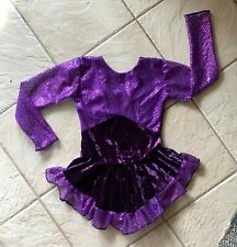 NEW GIRLS PURPLE VELVET Sequin Confetti DOT Competition Figure ICE SKATING Dress