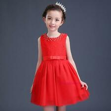 New Summer Kids Young Girls Princess Pearls Lace Sweet Dance Wedding Party Dress