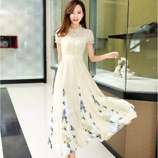 Fashion Women Floral Print Pleated Dress Summer Sweet Short Sleeve Chiffon Dress