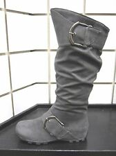 NEW SODA GREY CASUAL COMFORT SLOUCH KNEE-HIGH 2 BUCKLE FASHION WINTER  BOOT