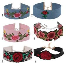 Red Flower Embroidery Choker Collar Vintage Women Bohemian Necklace Jewelry Gift