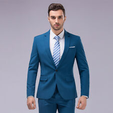 Mens Slim Fit Business Shiny Wedding Groom 2PCS Suits One Button Coat Pant Set
