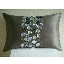 Crystals 30x35 cm Art Silk Grey Lumbar Cushion Cover - Crystal Delight