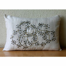 Ivory Crystals 30x35 cm Silk Lumbar Cushion Cover - Crystal Clear