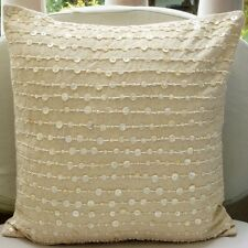 Mother Of Pearls Beige Cotton Linen 40x40 cm Cushion Cover - Adornment