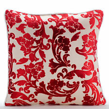 Cayenne Red Florals - 55x55 cm Burnout Velvet Cayenne Red Throw Cushions Cover