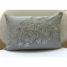Silver Silk 30x45 cm Medallion Crystals Lumbar Cushion Cover - Crystal Circles