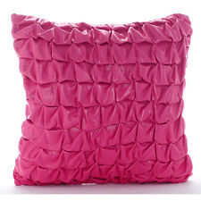 Pink Faux Leather 60x60 cm Metallic Knotted Cushion Shams - Pink Panther
