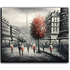 Hand Painted Oil Painting on Canvas Eiffel Tower Art Landscape Modern Home Decor