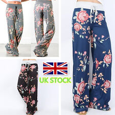 UK Womens Ladies Floral Printed Wide Leg Harem Pants Breathable Casual Trousers