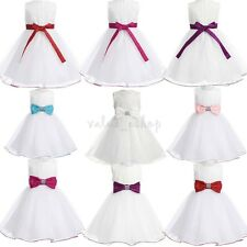 Flower Girl Princess Dress Kids Baby Pageant Wedding Party Fancy Tutu Bow Dress