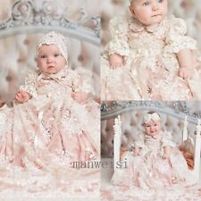 Luxury Pink Baby Girl Christening Short Sleeve Lace Baptism Custom Gowns+Bonnet