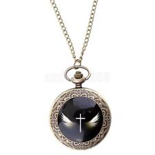 Vintage Antique Steampunk Cross Angle Wings Pocket Watch Quartz Pendant Chain