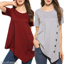 Fashion Womens Summer Casual Cotton Blouse Short Sleeve Shirt T-shirt Blouse Top