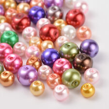 100 pcs Glass Pearl Round Beads Jewelry Beads DIY Handmade Mixed Style/color