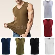 Mens Cotton A-Shirt Muscle Ribbed Wife Beater Tank Top T-Shirt Gym Tee M-3XL