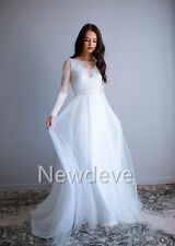 Elegant Fairy Beach Wedding Dresses Custom Chiffon Bridal Gown Plain Cotton Lace