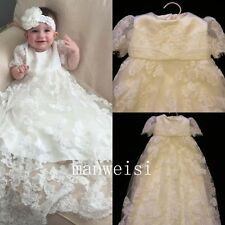 White Short Sleeve Christening Gown Lace Elegant Toddler Baptism First Communion