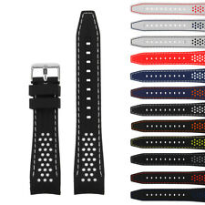 StrapsCo Rubber Perforated Rally Watch Band Mens Silicone Strap with Curved Ends