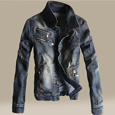 Mens Stand Collar Slim Fit Denim Coat Retro Punk Jeans Jacket Motorcycle Outwear