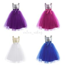 Flower Girl Kid Princess Dress Sequins Kid Party Wedding Pageant Prom Tulle Gown