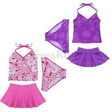 3PCS Girls Kids Halter Swimsuit Bikini Tankini Set Skirted Bathing Suit Swimwear