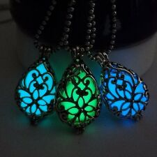 Can open hollow hollow flat water droplets heart-shaped luminous beads necklace