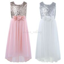 Sequins Chiffon Prom Flower Girl Dress Princess Pageant Bridesmaid Wedding Party