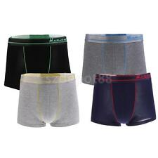 4 Pieces Men Soft Stretchy Breathable Flat Waistband Boxer Underwear